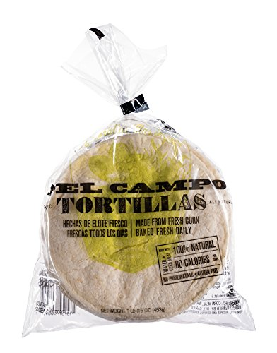 Del Campo Soft Corn Tortillas – 6 Inch Round 1 Lb. Bag. 100% Natural, Gluten Free, All-Corn Authentic Mexican Food. Serving Options: Tortilla Wraps, Tacos, Quesadillas or Burritos. Kosher. (16 pack)