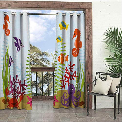 Linhomedecor Garden Waterproof Curtains Aquarium Friendly Sea Animals Tropical Aquatic Habitat Collection Seahorse Crab Octopus Multicolor Porch Grommet Privacy Curtain 84 by 108 -