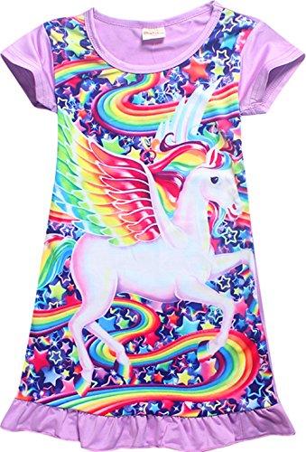 Girls Unicorn Nightgown Sleep Shirts Printed Star Rainbow Nightshirt Casual Nightie Princess Night Dresses,Grsy-Wing purple-S130