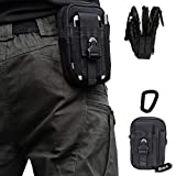 Artcraft(TM) Black Molle Camo Bag Military 1000D Nylon Utility Tough Heavy Duty Tactical Compatible Waist Pack Universal Waist Bags Casual Climbing Hiking Outdoor Rock Gear Holster Pouch Cycling Carrying Big Pouch Belt Waist Bag / Pocket for LG ALL FIT Case Cover Skin