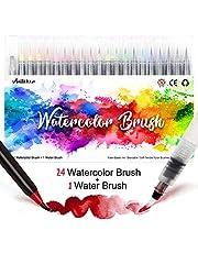 Amteker Brush Pen Set - 24+1 Pinselstifte Handlettering Stifte Set, Manga Zeichnen Stifte, Kalligraphie Set, Aquarellpinsel Lettering Stifte Set für Bullet Journal, Kalligraphie, Geschenk