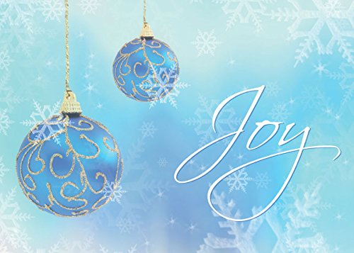 Joy Box (Holiday Greeting Cards - H8017. Business Greeting Card with Joy in Script Surrounded By Blue Ornaments and Snowflakes. Box Set Has 25 Greeting Cards and 26 White with Silver Foil Lined Envelopes.)