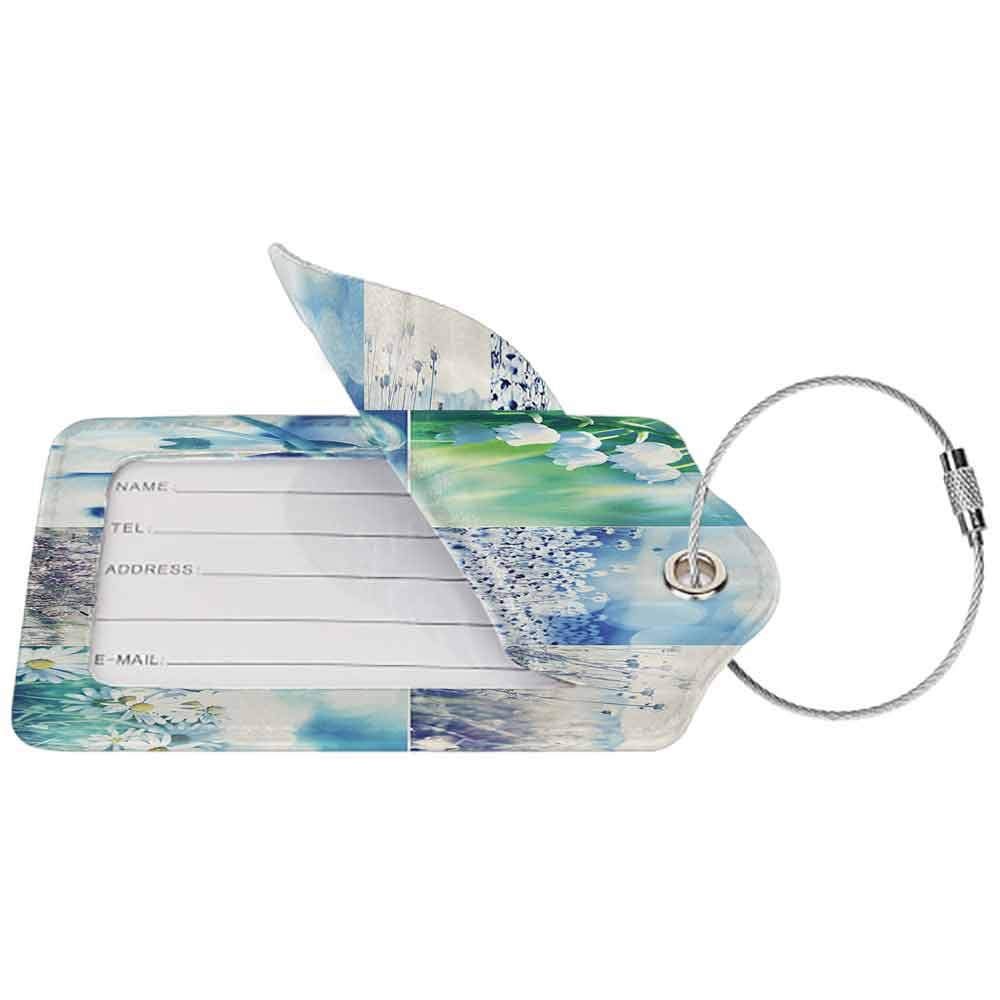 Soft luggage tag Home Decor Collection Spring Wild Flowers Themed Collage with Daisy and Violets in the Meadow Countryside Picture Bendable Blue Beige W2.7 x L4.6