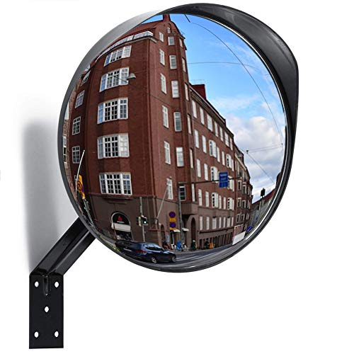 MEETWARM 12 Inch Convex Security Mirror Curved Safety Mirror with Adjustable Fixing Bracket for Indoor & Outdoor, Driveway, Warehouse and Garage Safety or Store and Office Security ()