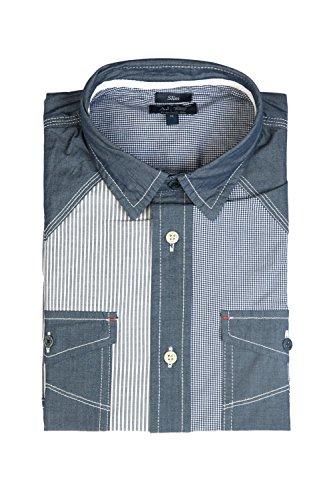 Armani AJ Men's Patterned Shirt With Denim Look Elements 06C11VK S indigo