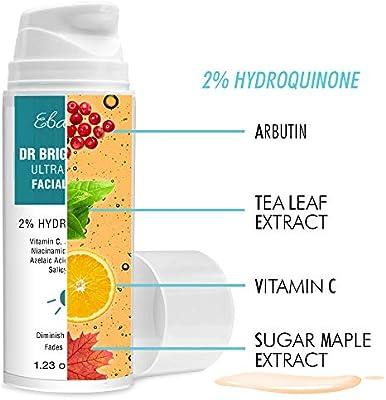 Hydroquinone 2% Dark Spot Corrector Remover Serum for Face,Melasma Treatment, Anti Aging Serum with Vitamin C, improve Lighten Brighten Dark Spot, for Men Women Sensitive Skin, 1.23 Oz