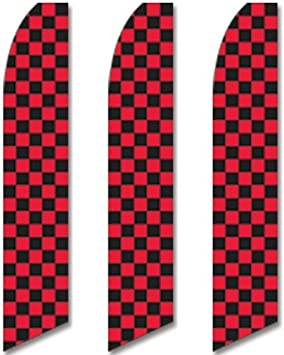 Checkered Red//White Windless Full Sleeve Swooper Flag Feather Banner