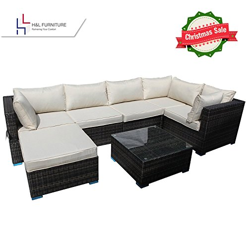 Holiday Sale - H&L Patio Outdoor Garden 7-Piece Cushioned Seat, PE Rattan Wicker Sofa Furniture Set, Elegant Lawn Sectional Furniture Set for All-Weather, No Assembly Required