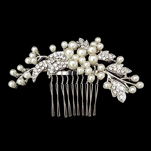 Sunshinesmile Rhinestone Wedding Bridal Hair Comb Pearl Flower Hair Jewelry Crystal Headpiece