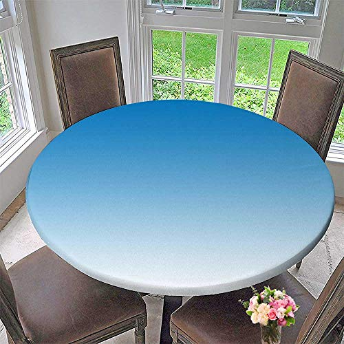 "Mikihome Elasticized Table Cover Sky Skyscape Inspired for Blue rs Design Art Printation Blue White Machine Washable 55""-59"" Round (Elastic Edge)"