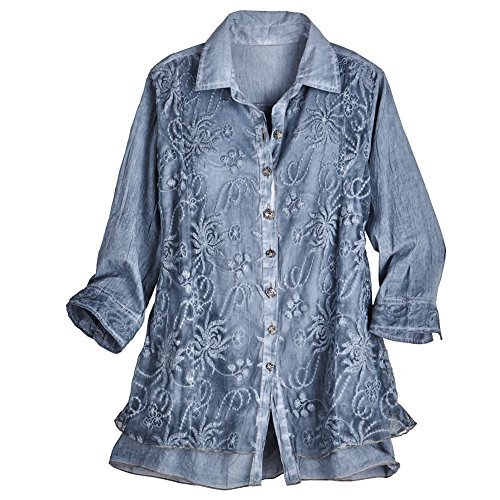 Women's Lavish Lace Layered Button Down Blouse - Cotton - Blue - 2X