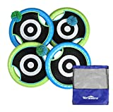 Win SPORTS Deluxe Trampoline Paddle Ball Flying Discs, Super Bounce-Back Family Game Set (4 Paddles & 3 Balls & Storage Bag)
