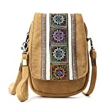 Goodhan Embroidery Canvas Crossbody Bag Cell phone Pouch Coin Purse for Women Girls (Camel Yellow)