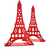 One Pair Creative Paris Eiffel Tower Book Organizer Metal Bookends for Kids School Library Desk Study Home Office Decoration Gift (Red)