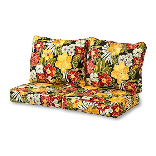 Greendale Home Fashions Deep Seat Loveseat Cushion Set in Aloha Black