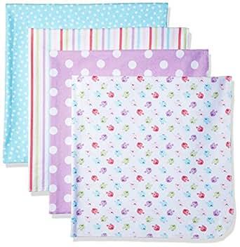Gerber Baby Girls' 4 Pack Flannel Receiving Blanket, Birdie, One Size