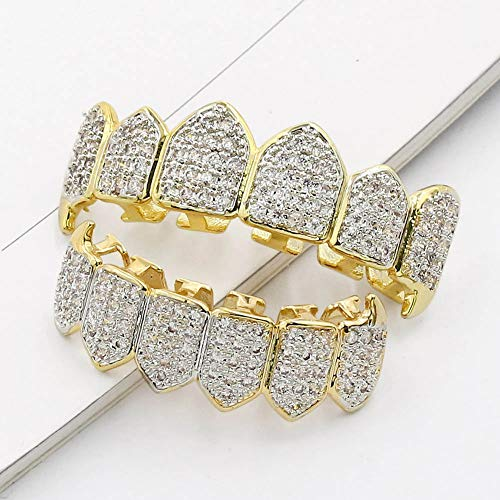 TOPGRILLZ 18K Gold Plated Fully Iced Out CZ Vampire Top and Bottom Grillz for Your Teeth with Extra Molding Bars