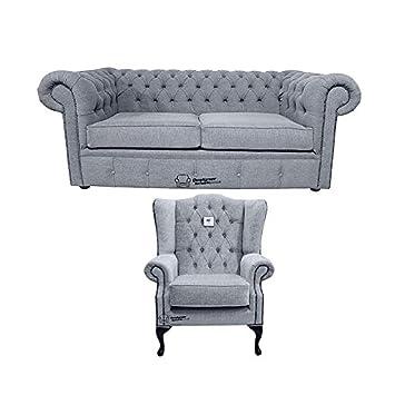 Designer Sofas 4 U Chesterfield Suite Verity Plain Acero ...