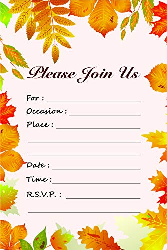 - Fall Leaves Fill in Invitations - Wedding, Bridal Shower, Baby Shower, Engagement Party, Birthday - (25 Count 6 X 4