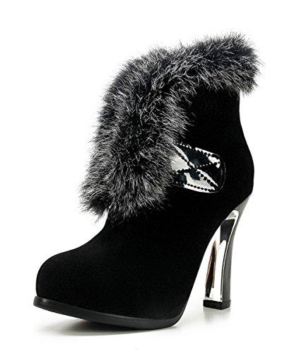 AllhqFashion Damen Ziehen auf Rund Zehe Wasserdicht Plattform Niedrig-Spitze Stiefel Schwarz