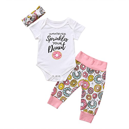 Newborn Baby Girl Floral Clothes Long Pants Outfits Short Sleeve Donuts Romper Bodysuit Headband (0-6 Months, White Floral) from ITFABS