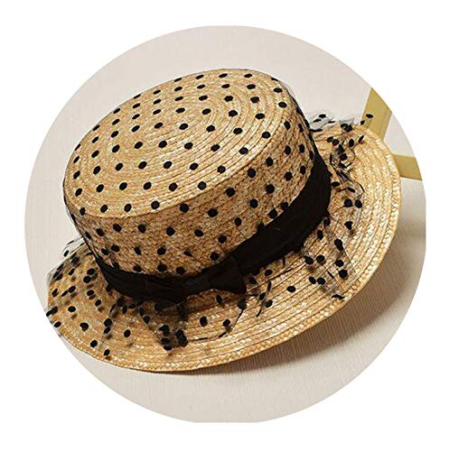 Parent Child Lace Mesh Dots Bow Flowers Straw Hats Women