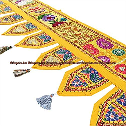 (Sophia-Art Indian Cotton Home Decor Vintage Patchwork Door Topper Valances Window Indian Valances Hand Embroidered Patchwork Toran Boho Bohemian Decor Living Room Decor 78 inches (Gold Yellow))