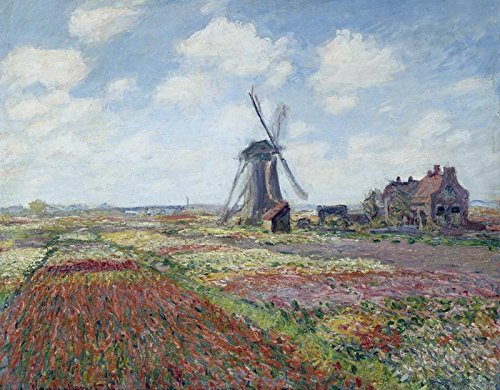 (Tulip Fields With The Rijnsburg Windmill - Claude Monet. Wall Decal - Peel & Stick, Removable (16