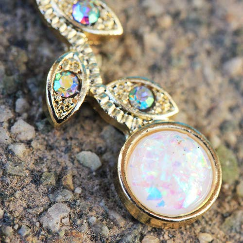 Pierced Owl Golden Opal Flower and Vines Dangling Belly Button Ring