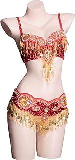 MoLiYanZi Glands Ensemble de Danse du Ventre pour Femme Fait Main Fée de la Danse Brillant Strass perlé Ceinture et Soutien-Gorge Costume Professionnel de Danse du Ventre