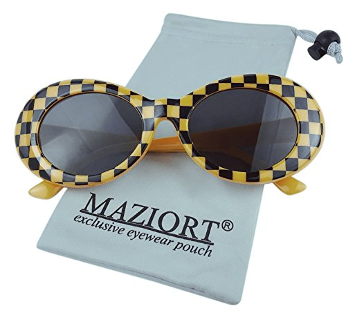 Small Oval Sunglasses Clout Goggles Bold Retro Mod Glasses Round Lattice - Glasses Clubmaster Cheap