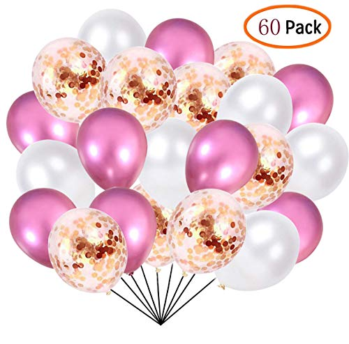 60 Pcs Pack-White, Pink, Pink Confettii Balloons,Set for Father's Day Weddings Birthday Party Decoration,Bridal & Baby Showers Balloons 12 ()
