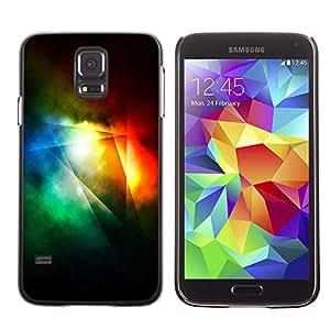 X-ray Impreso colorido protector duro espalda Funda piel de Shell para SAMSUNG Galaxy S5 V / i9600 / SM-G900F / SM-G900M / SM-G900A / SM-G900T / SM-G900W8 - Dark Light Rainbow Color Lines Abstract