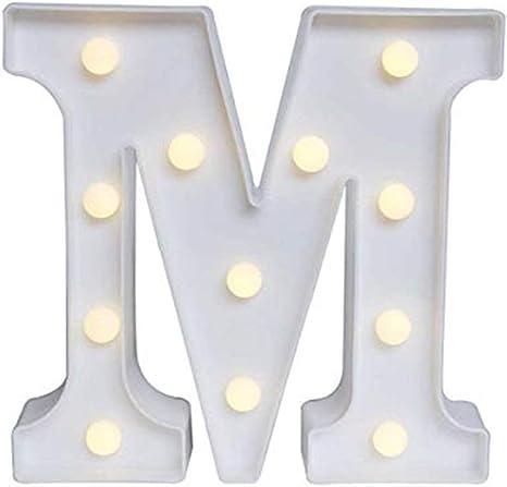 Lomsarsh Creativo LED lettere dellalfabeto luci luce notturna plastica decorativa luce calda fino alla luce per anniversario festa nuziale bar sala appeso a parete Decor-A