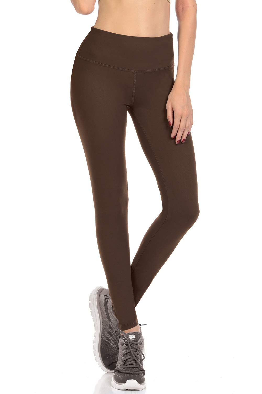 VIV Collection Signature Leggings Yoga Waistband Soft w Hidden Pocket (M, Dark Brown)