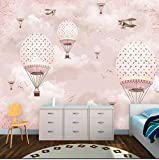 Mznm Custom Wallpaer Children's Room Pink Girl Heart Cartoon Hot Air Balloon Wall Custom Large Mural Green Wallpaer Mural-150X120Cm