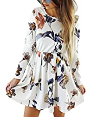 Angashion Womens Dresses Casual Floral Print Long Sleeve Swing Pleated Skater A Line Mini Dress Pink L