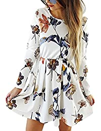 Womens Dresses Casual Floral Print Long Sleeve Swing Pleated Skater A Line Mini Dress