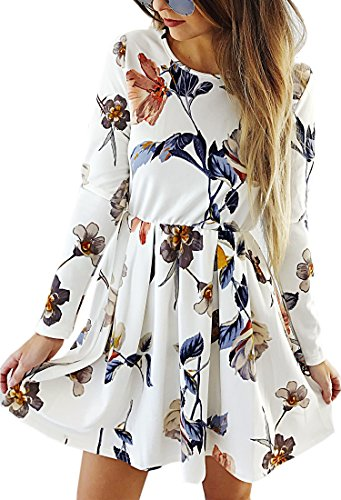 Angashion Womens Dresses Casual Floral Print Long Sleeve Swing Pleated Skater A Line Mini Dress,White,X-Large Floral Dress