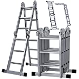 #2: Oyeye 11.7ft Aluminum Folding Ladder Multipurpose Extendable Ladder Safety Locking Hinges 330 Pound Capacity Anti-slip Design
