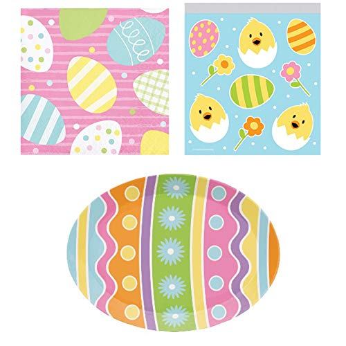 (Easter Bunny Disposable Party Supplies: 10 Bunny Themed Baggies + 1 Bunny Platter + 16 Beverage Napkins)