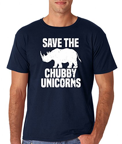 AW Fashions Save The Chubby Unicorn - Funny Quote Tees Hipster Men's T-Shirt (X-Large, Navy)