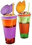 2 Pack Snackeez - Plastic 2 in 1 Snack & Drink