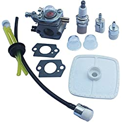 Kipa Carburetor Air Filter Fuel Line Spark Plug Maintenance Kit for Zama C1U-K47 C1U-K52 C1U-K29 ECHO SRM2100 GT2000 GT2100 PAS2000US PAS2000 PAS2100 PAS2110 SHC1700 SHC2100 GT2000 GT2100 Trimmer Carb