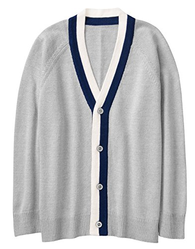 Crazy 8 Boys' Little Tipped Cardigan, Dove, XS - Tipped Cotton Cardigan