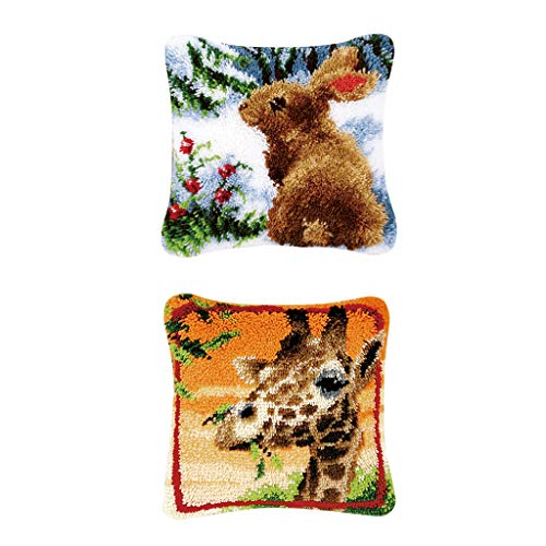 SM SunniMix 2 Set Latch Hook Cushion Kits Giraffe Rabbit Pattern for Beginners Pillow Case Making 43x43cm 2 Latch Hook Pattern