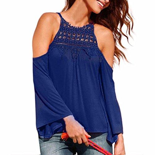 KOLY Maglia manica lunga donna Camicetta casuale T-shirt in cotone allentato Donna Camicia Blusa Maglia Manica Lunga Casual Cotton Blend Elegante Ufficio O-Neck (3XL, Blue)