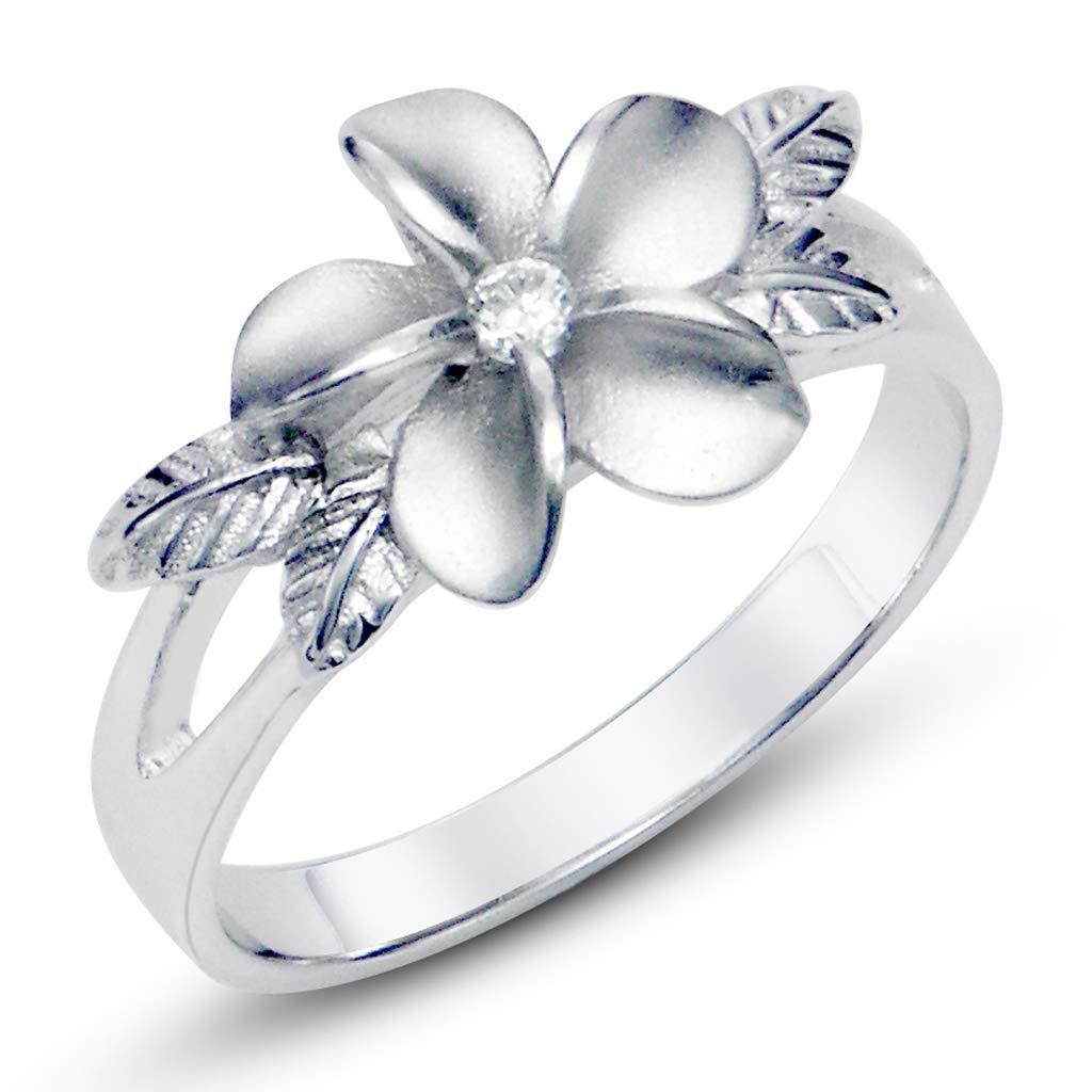 Metal Factory Sz 4 Sterting Silver 925 Plumeria Cubic Zirconia CZ w/Maile Leaf Hawaiian Flower Band Ring