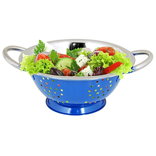 twin-handle-colander-by-kosma-mirror-finish-interior-with-blue-colour-exterior-premium-tableware-in-