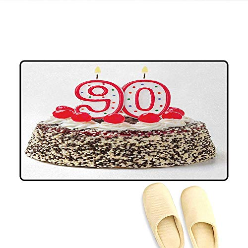 Door Mats,Birthday Cake with Tasty Cherries Burning Candles and Number Ninety,Bath Mat Bathroom Mat with Non Slip,Red Brown White,Size:24
